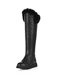 Women's Solid Mixed Material Low Heels Round Closed Toe Zipper Boots