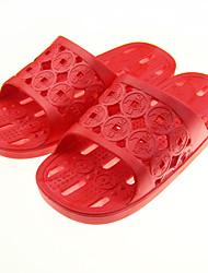 Damen-Sandalen-Lässig-Gummi-Flacher Absatz-Fersenriemen-Rot