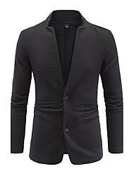 Blazer Pour des hommes Couleur plaine Décontracté / Travail / Grandes Tailles Coton / Polyester Manches longues Noir