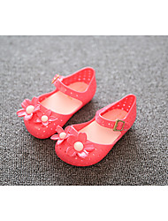 Girl's Sandals Summer PU Outdoor Flat Heel Flower Black Red Walking