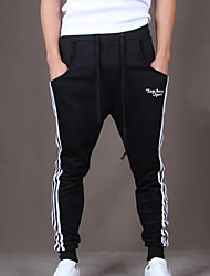Men's Striped Casual Sport Sweatpants Cotton Black Harem Pants