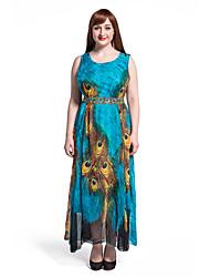 Women's Beach Plus Size / Swing Dress,Animal Print Round Neck Maxi Sleeveless Blue Polyester Summer