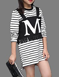 Girl's Casual/Daily Striped TeeCotton Spring / Fall White