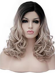 Perruques sans bonnet Synthétique Sans bonnet Perruques Moyen Châtain Blond Cendré Foncé Cheveux