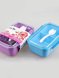 utensílios de plástico lancheira simples com colher