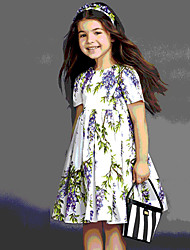 Girl's Casual/Daily Print DressCotton Summer White