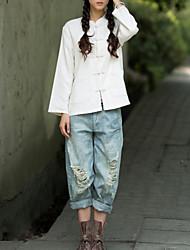 Feminino Camisa Casual Chinoiserie Primavera / Outono,Sólido Branco Algodão / Linho Colarinho Chinês Manga Longa Fina
