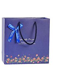 Four Dark Blue Floral 30Cm * 27Cm * 12Cm Gift Bags Per Pack