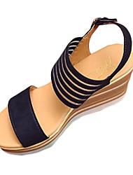 Damen Sandalen Komfort PU Sommer Normal Komfort Schnalle Keilabsatz Schwarz Beige 5 - 7 cm