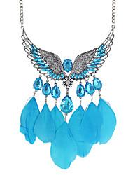 Rhinestone Wings Shape Feather Pendant Necklace