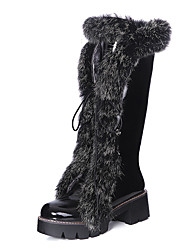 Women's Boots Winter Snow Boots Dress Low Heel Lace-up Black / White / Silver Others