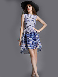 Women's Casual/Daily Simple Summer / Fall Set SkirtAnimal Print Square Neck Sleeveless Blue Polyester Thin