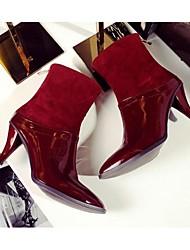 Damen-Stiefel-Outddor-Leder-Stöckelabsatz-Modische Stiefel-Schwarz / Rot