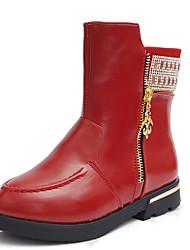 Women's Boots Fall / Winter Fashion Boots Leatherette Outdoor / Casual Flat Heel Zipper Black / Red Walking