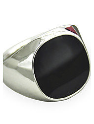 Men's Fashion Alloy Ring Vintage Punk Style Black Gem Statement Rings Casual/Daily 1pc Christmas Gifts