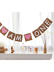 Vintage I AM ONE Pink Blue Heart Baby Boy Girl 1st Birthday Party Banner Bunting