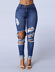 Women's Skinny Jeans PantsGoing out Casual/Daily Simple Street chic Solid Mid Rise Hole Slim Hin Thin Zipper Micro-elastic Spring Fall