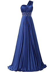 Formal Evening Dress - Elegant A-line One Shoulder Floor-length Satin with Beading Pleats