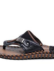 Masculino-Chinelos e flip-flops-Sandálias-Rasteiro-Preto-PVC-Casual