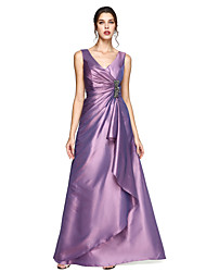 A-Line V-neck Floor Length Taffeta Formal Evening Dress with Crystal Brooch Pleats by TS Couture®
