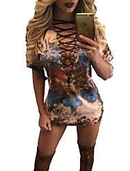 Damen Druck Sexy / Einfach Ausgehen / Lässig/Alltäglich T-shirt,Tiefes V Sommer / Herbst Kurzarm Gelb Polyester Undurchsichtig