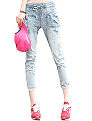Women's Solid Blue Jeans PantsSexy / Simple / Cute Spring / Summer