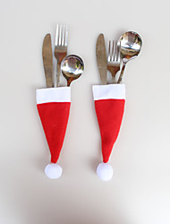 12 Pcs Christmas Ornaments Christmas Cap Knife Fork Bags 6*13cm
