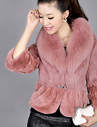 Women's Casual/Daily Simple Fur Coat,Solid Long Sleeve Winter Pink / White / Black Faux Fur