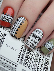 1 pc Tribal Geo Pattern Nail Water Decals Black Grid Transfer Nail Art Stickers YE-314