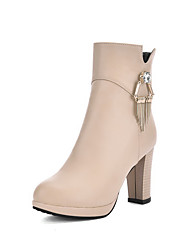 Women's Low-top Zipper Soft Material High-Heels Closed Round Toe Boots