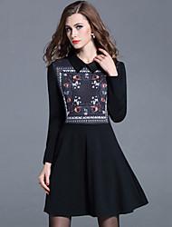 Women's Plus Size /Casual /Work Street Sheath Dress Print Shirt Collar Slim Thin Fashion Black Rayon /Nylon Spring /Fall