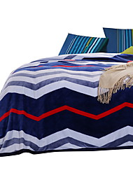 Bedtoppings Blanket Flannel Coral Fleece Fake Mink Queen Size 200x230cm Blue Stripe Prints Thicker