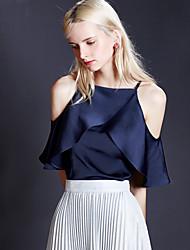 Damen Solide Einfach Ausgehen Bluse,Gurt Sommer Kurzarm Blau / Weiß Polyester Undurchsichtig