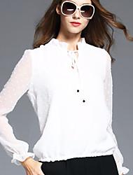 BOMOVO Women's Stand Long Sleeve T Shirt White-B16QB10