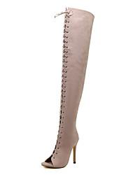 Feminino-Botas-Conforto Gladiador Botas Montaria Botas da Moda-Salto Agulha-Preto Amêndoa-Courino-Social Festas & Noite