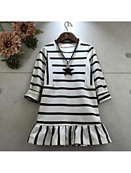 Girl's Casual/Daily Striped DressCotton Spring / Fall Black / White