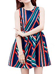 Women's Going out / Casual/Daily Street chic A Line / Sheath DressStriped Round Neck Above Knee Sleeveless