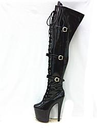 Women's Boots Winter Platform PU Party & Evening Stiletto Heel Platform Zipper Lace-up Button Black Red