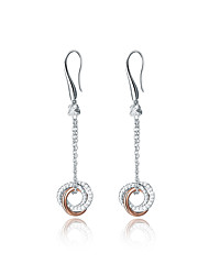 SILVERAGE 925 Sterling Silver Love Knot Rose Gold Cubic Zirconia Drop Dangle Earrings Fine Jewelry Women
