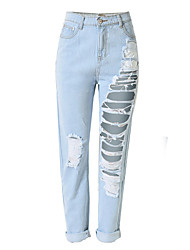 Women's Solid Hole All Match Fashion Ninth Jeans / Straight PantsSimple / Street chic Spring / Fall