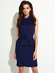 Women's Going out Street chic Sheath Dress,Solid Shirt Collar Knee-length Sleeveless Blue Polyester Summer