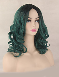 Fashion Natural Black To Green Color Curly Wig Synthetic Cosplay Wig