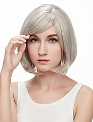 European and American Fashion Personality Ms. Golden Color Mixture Hair Inclined Bang Wig
