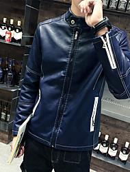 Masculino Jaquetas de Couro Casual Simples Outono / Inverno,Sólido Azul / Preto Pele Colarinho Chinês-Manga Longa Média