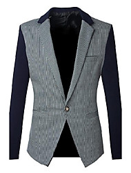 Men's Going out / Casual/Daily / Formal Vintage / Simple / Street chic Fall / Winter Blazer,Striped Notch Lapel Long Sleeve Blue / Black