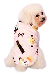 Dog Shirt / T-Shirt / Pajamas Blue / Pink Dog Clothes Winter / Spring/Fall Cartoon Cute / Keep Warm