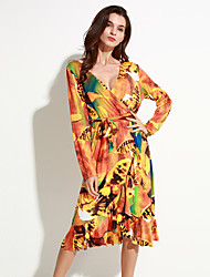 Women's Beach Loose / Swing Dress,Floral / Print Round Neck Knee-length Long Sleeve White / Orange / Yellow Polyester Summer
