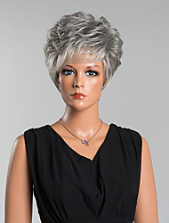 Fashion Short Grey Curly Capless Wigs High Quality Human Hair