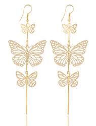 New Fashion Gold Silver Alloy Double Bow Butterfly Drop Earrings Jewelry Hollow Flower Long Tassel Earring Party Jewelry