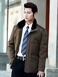 Men's Regular Down Coat,Simple Casual/Daily Solid-Polyester White Duck Down Long Sleeve Stand Blue / Brown